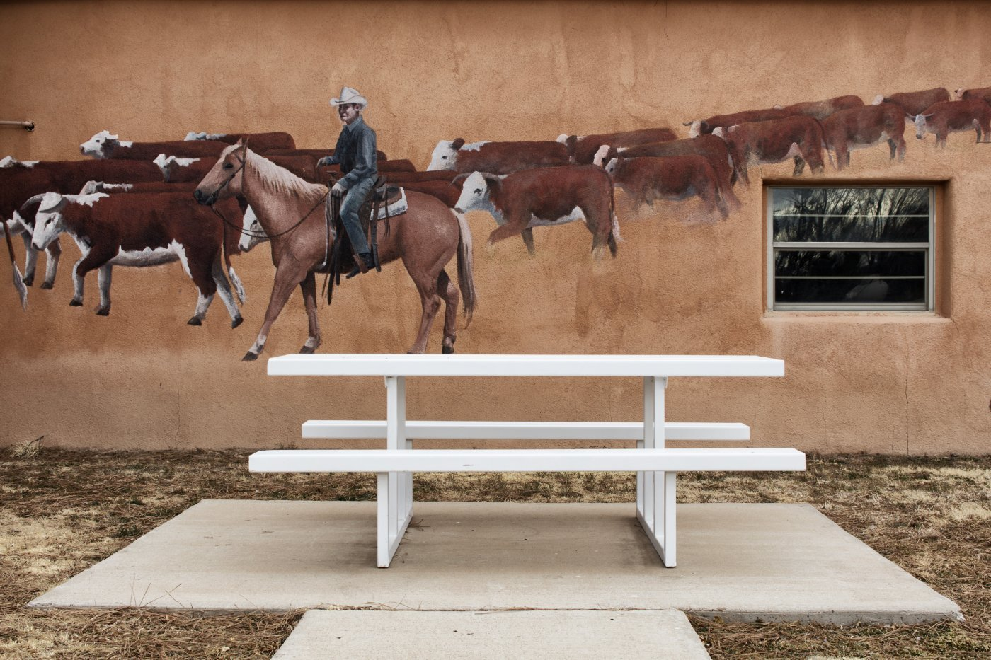 Rancher Mural and Park Bench, Mosquero, New Mexico, March 10, 2018