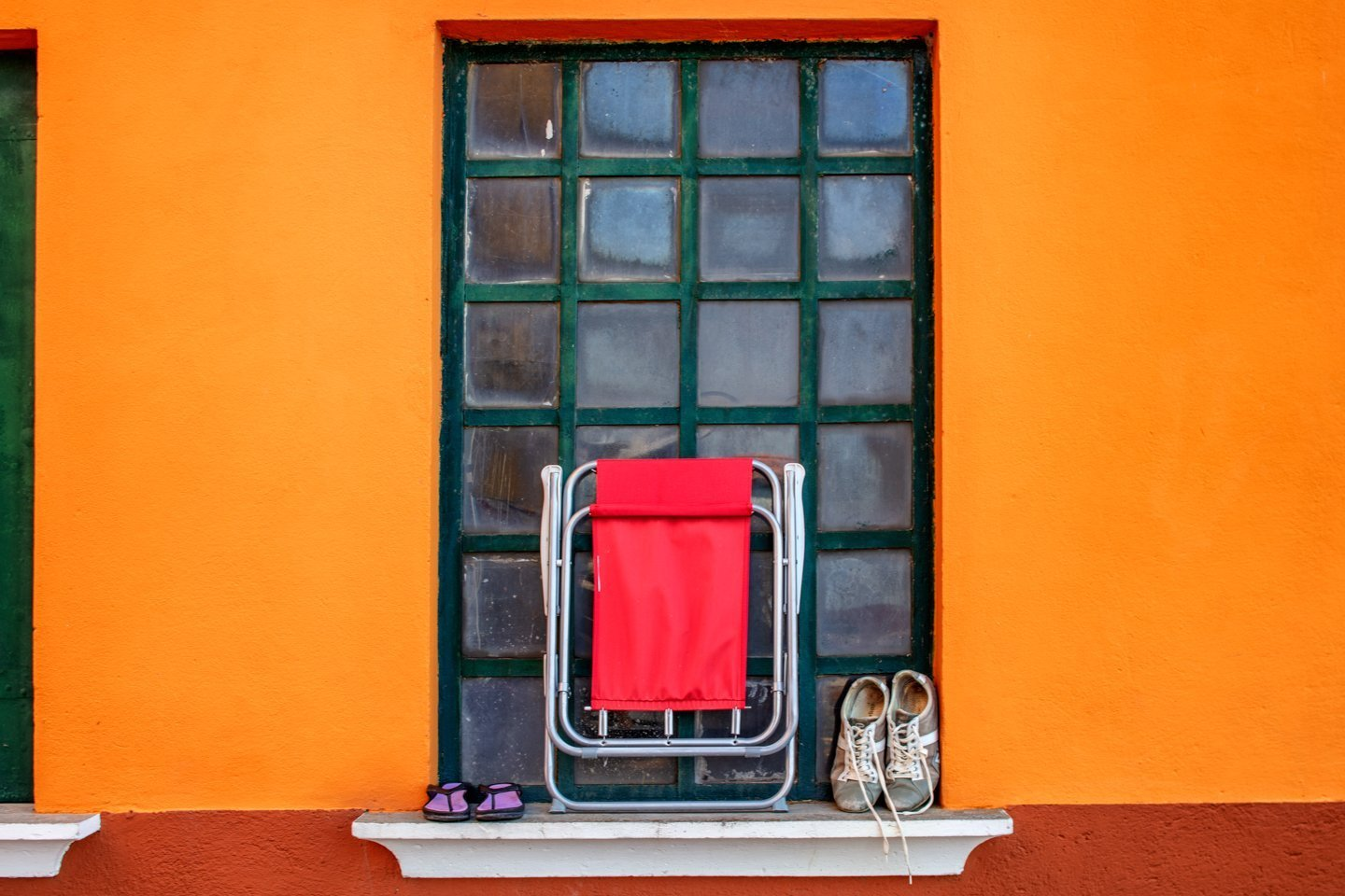 Red Folding Chair, Burano, Italy, July 14, 2018