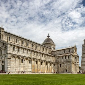 Color Photograph, Church, Cathedral, Leaning Tower of Pisa, Baptistry and Tower, Piazza dei Miracoli, Pisa, Italy, July 27, 2018