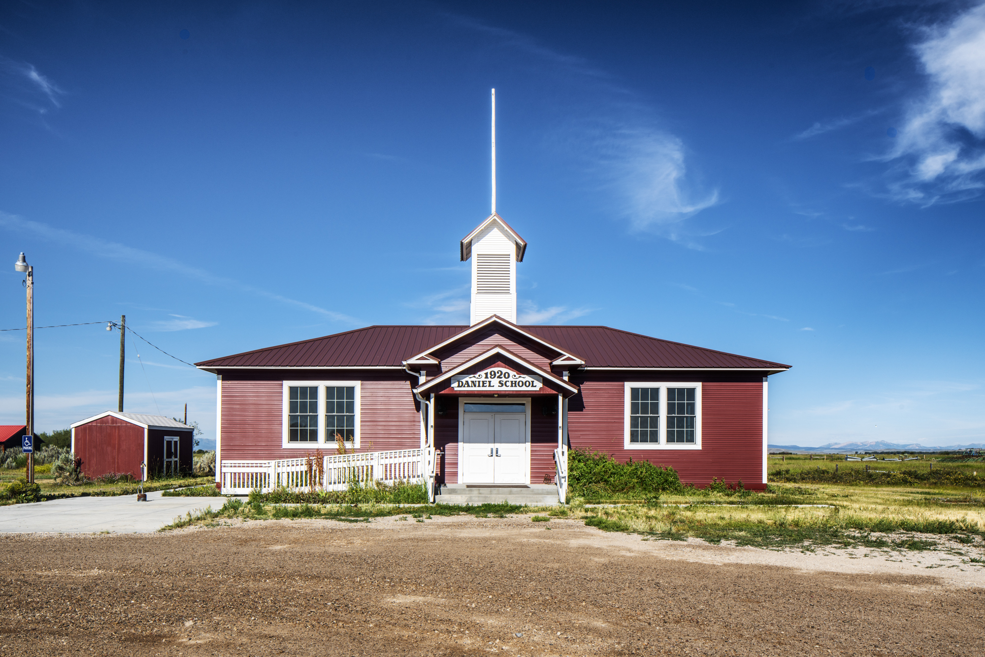 Color, Photograph, West, 1920 Daniel School, Daniel, Wyoming, August 4, 2019