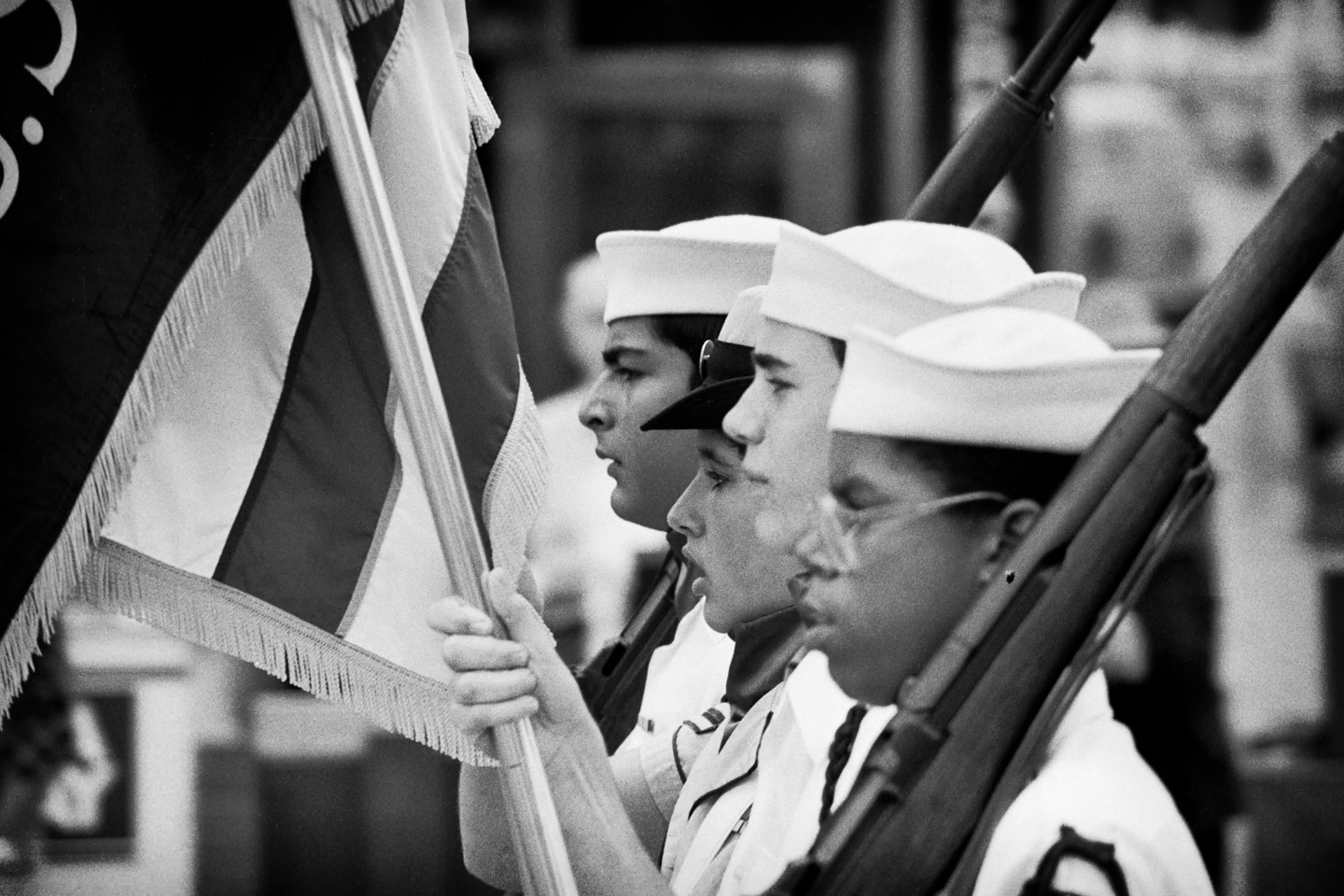 Black and White, Photograph, Flags, Parade, Patriotic, San Diego, California, 1982