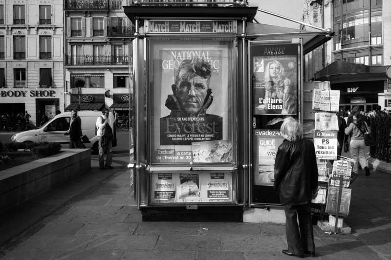Black and White, Photograph, Magazine Kiosk, Paris, 2003