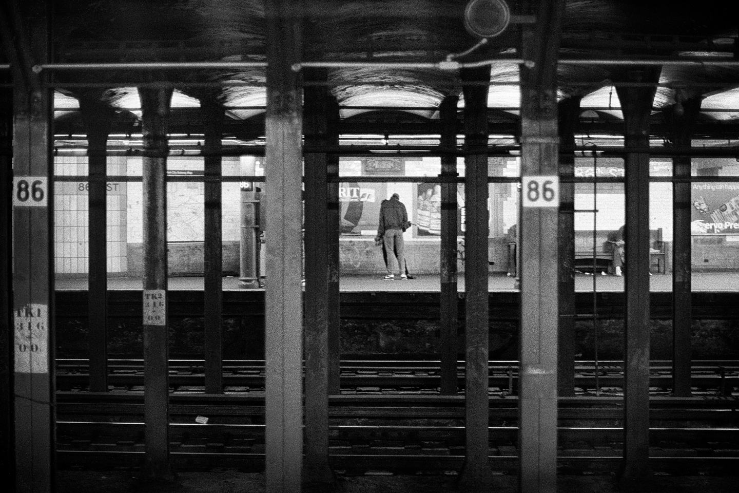 Black and White, Photograph, Subway Scene, New York City, 1985