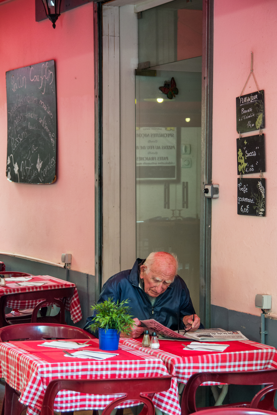 Man Reading Paper, Nice, France, October 13, 2013