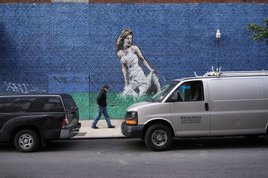Graffiti, Woman, Street, Photography, Man on Sidewalk, New York City, October 31, 2014