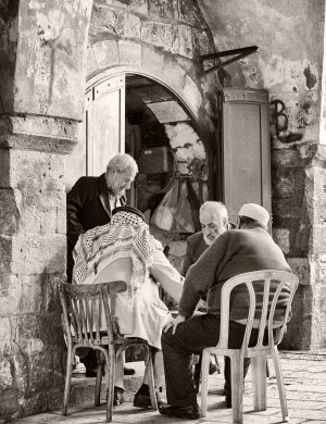 Backgammon Players Jerusalem Palladium Print platinum print alternative historic process Middle East Israel