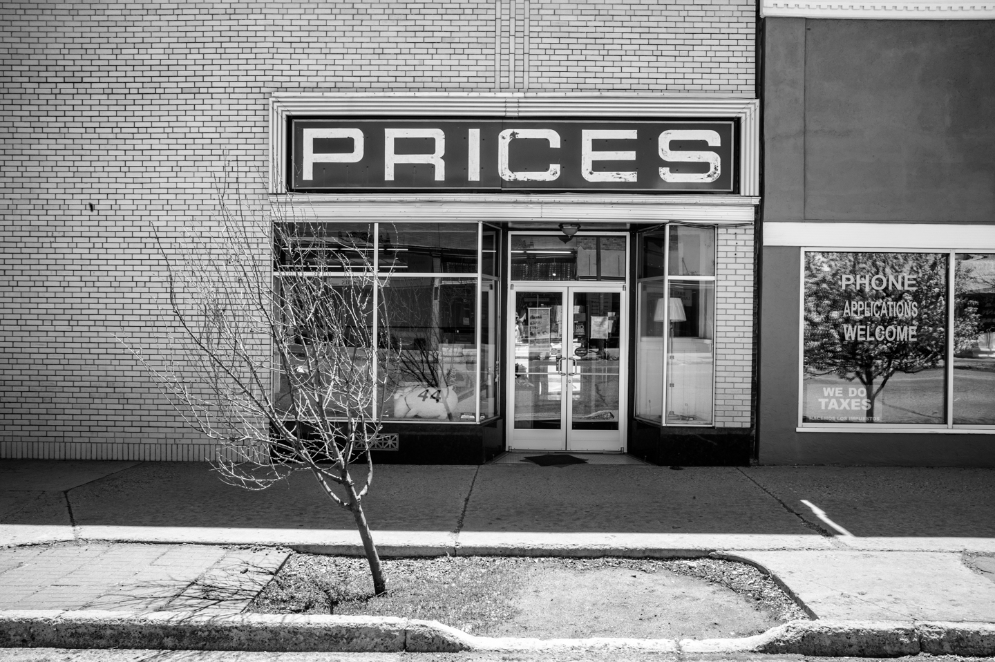 Photograph, Black and White, Place, Sense of Place, Prices, Las Vegas, New Mexico, April 24, 2020