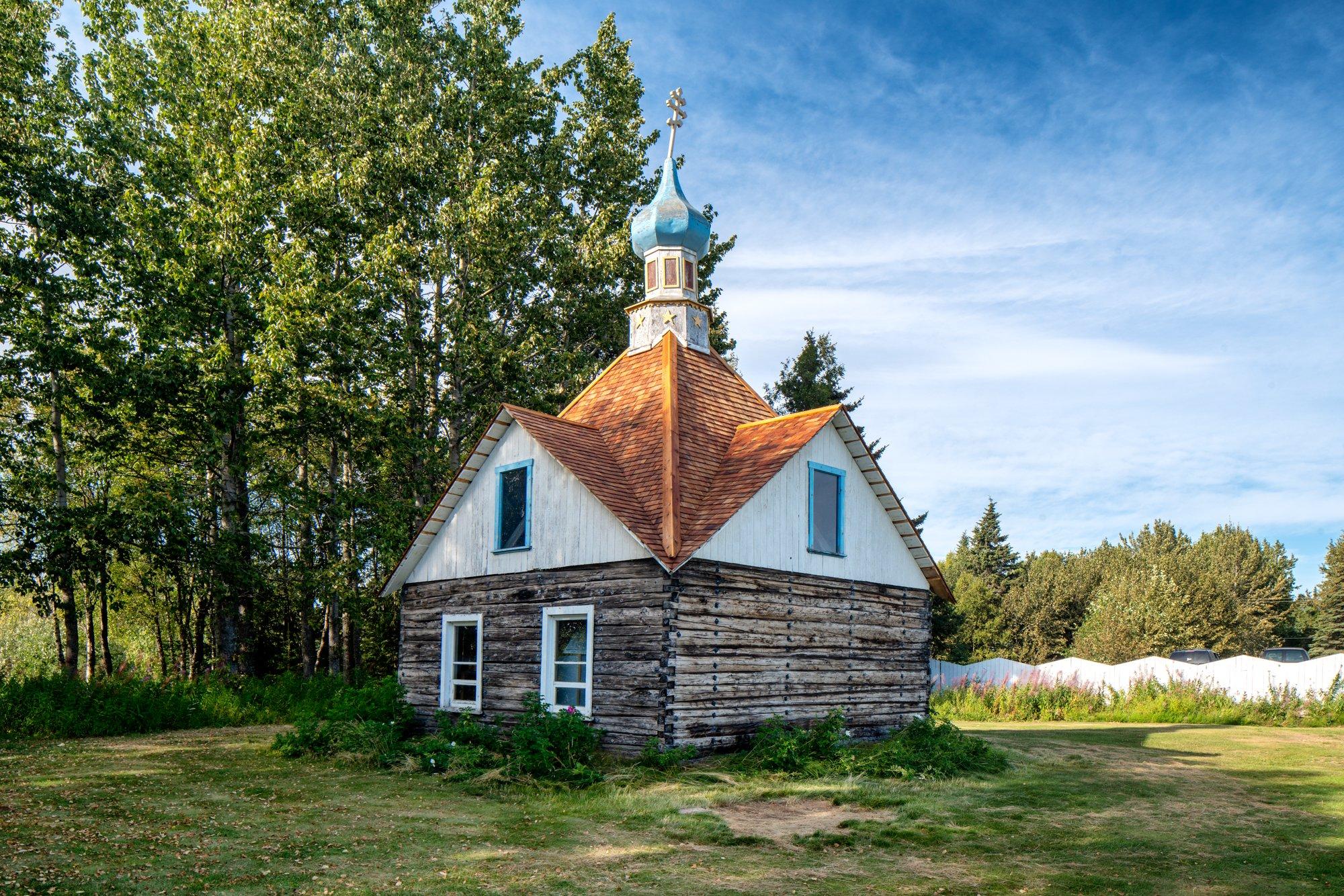 Chapel St. Nicholas 1906 Kenai Alaska Color Print Photograph Rural Rustic Architecture Church Frontier Travel