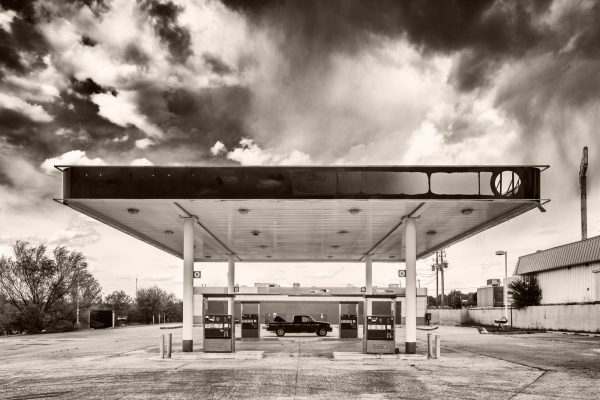 Gas Station Santa Rosa New Mexico 2016 palladium platinum print alternative historic process Southwest American Route 66 Photograph Rustic Americana