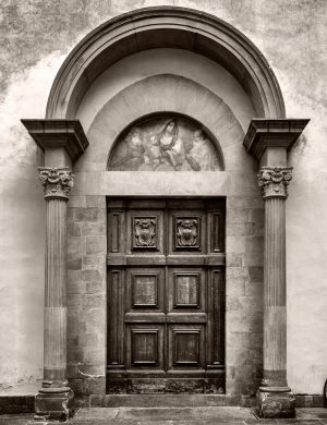Chiesa dei Santi Simone e Guida Florence Italy palladium platinum print alternative historic process Church Photograph Tuscany Sepia Bicycle