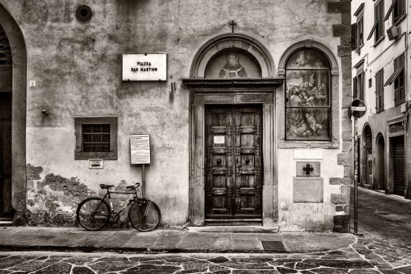 Piazza San Martino Florence Italy palladium platinum print alternative historic process Tuscany Sepia Church Icon Bicycle