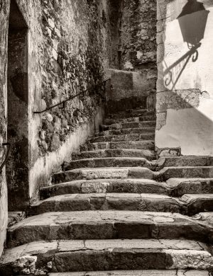 Staircase and Light Shadow Menton France palladium platinum print alternative historic process French Riviera Cote Azul Urban