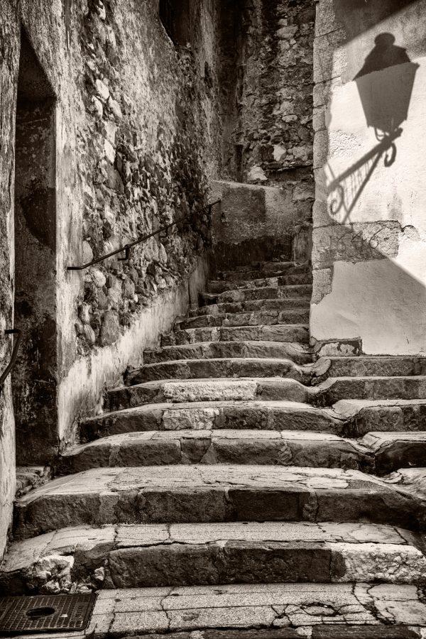 Staircase and Light Shadow Menton France palladium platinum print alternative historic process French Riviera Cote Azul Urban