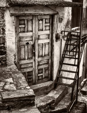 Stairs and Door Guanajuato Mexico palladium platinum print alternative historic process photograph