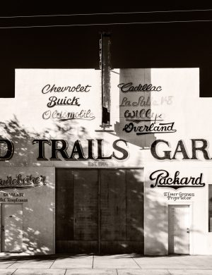 Old Trails Garage Kingman Arizona palladium platinum print alternative historic process southwest nostalgia car auto route 66