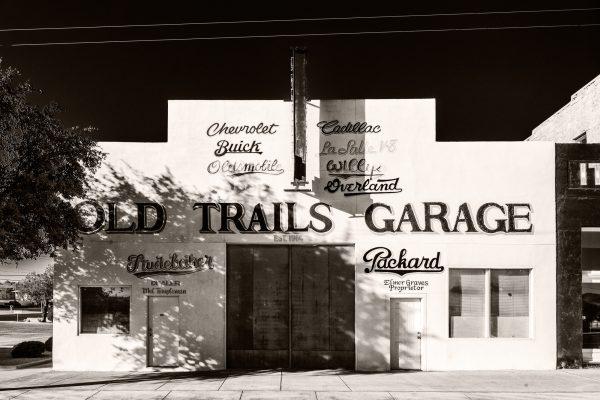 Old Trails Garage Kingman Arizona palladium platinum print alternative historic process southwest nostalgia car auto route 66