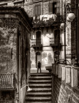 Man Stairs Sicily palladium platinum print alternative historic process Italy Europe Sicilian