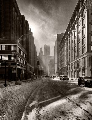 Snow Filled Street New York Palladium Print palladium alternative historic process urban street city photograph