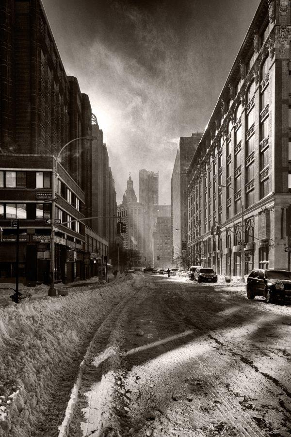 Snow Filled Street New York Palladium Print palladium alternative historic process urban street city photograph