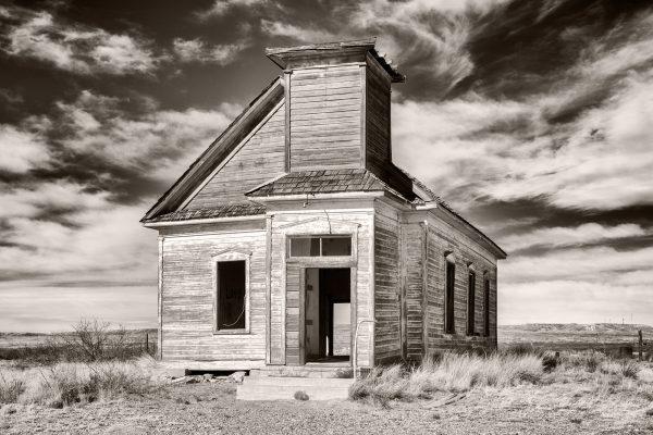 First Presbyterian Church Taiban New Mexico palladium platinum print alternative historic process Southwest Rural Sepia Photograph Americana